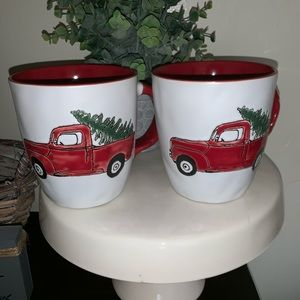 Set of 2 red truck mugs Christmas